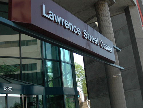 The main entrance to the Lawrence Street Center